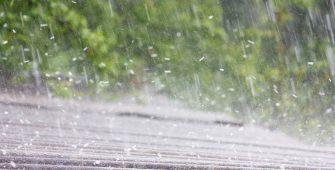 Summer Rain and Hail on Slate Roof