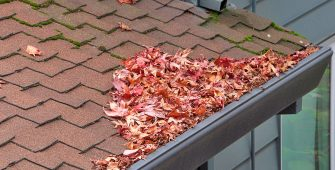 Asphalt Shingle Roof on House with Debris and Moss