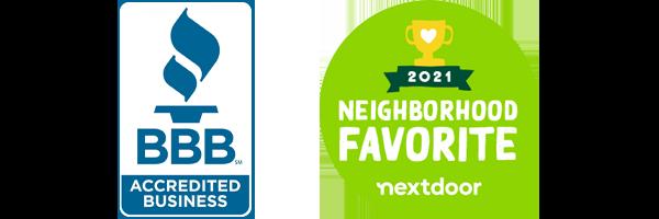 BBB Accredited Business and 2021 Nextdoor Neighborhood Favorite